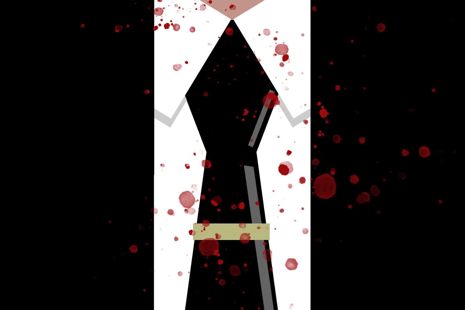 Illustration of a white collared shirt and black tie, splattered with blood, from an article about The Guest List