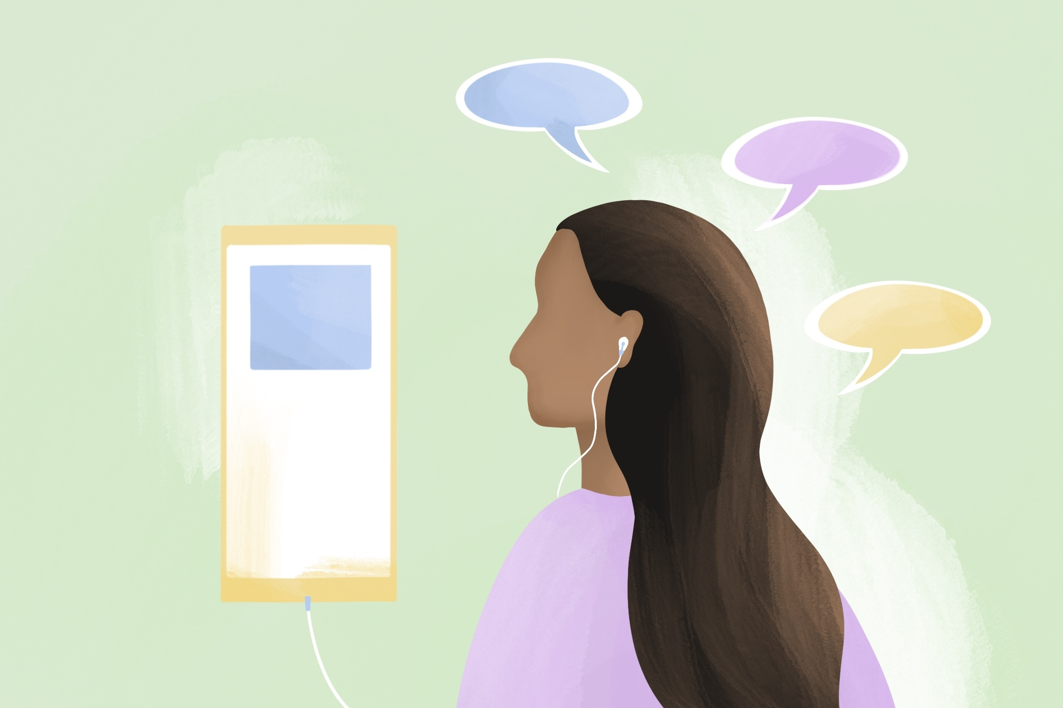 Illustration of person listening to podcast to learn languages