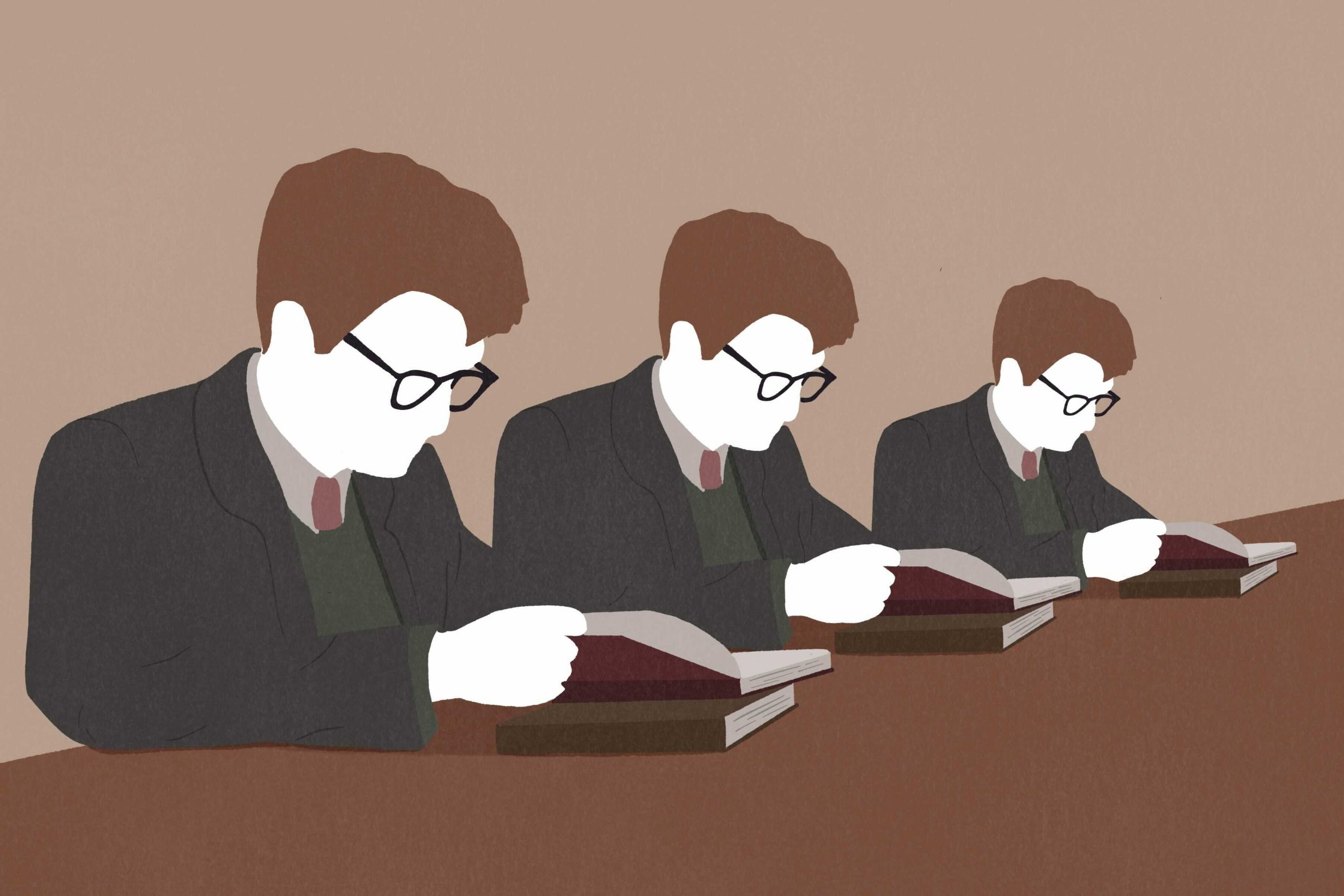An illustration of white men reading for an article on the lack of diversity in dark academia.