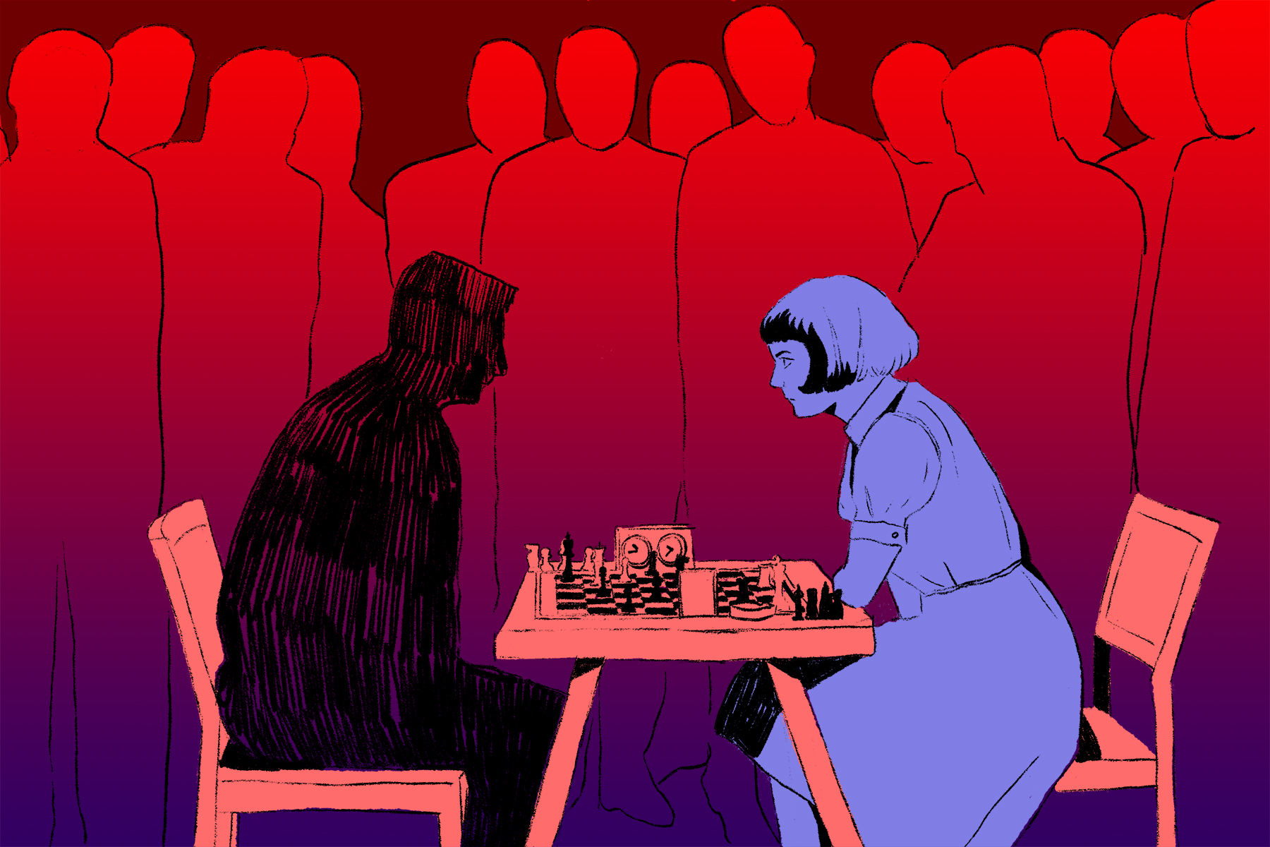 "An illustration of two people playing chess for an article on ""The Queen's Gambit."""