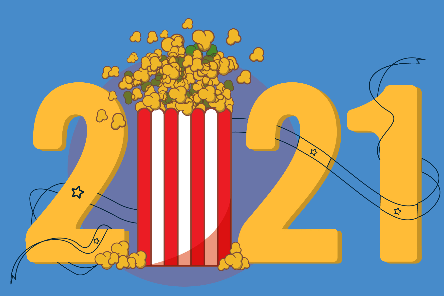 graphic of the year 2021 with a popcorn bucket replacing the O, in a story about family movies