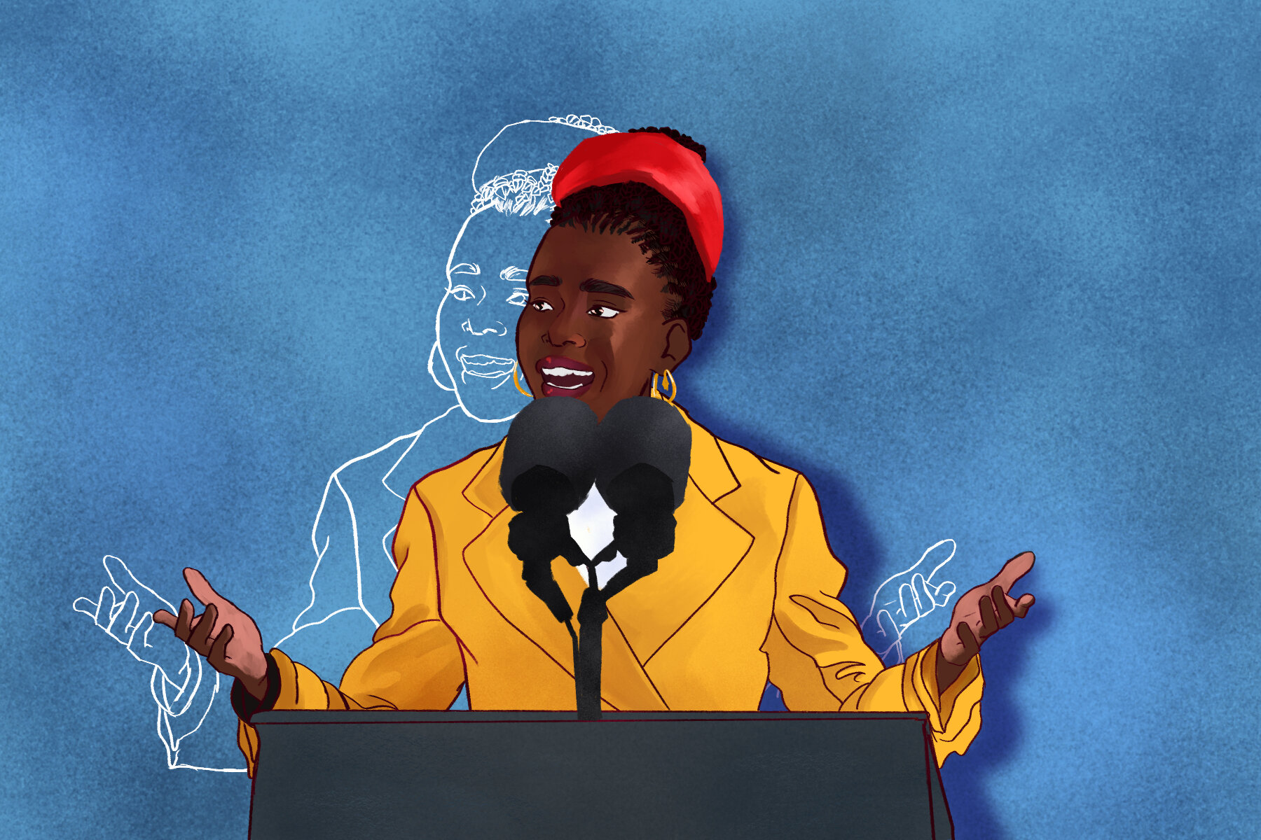 An illustration of Amanda Gorman speaking at the presidential inauguration ceremony in an article about her accomplishments. (Illustration by Lucas DeJesus, Montserrat College of Art)