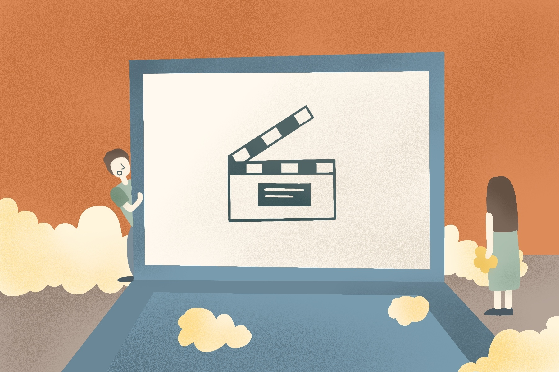 An illustration of a laptop for an article about five free online movies. (Illustration by Sonja Vasiljeva, San Jose State University)