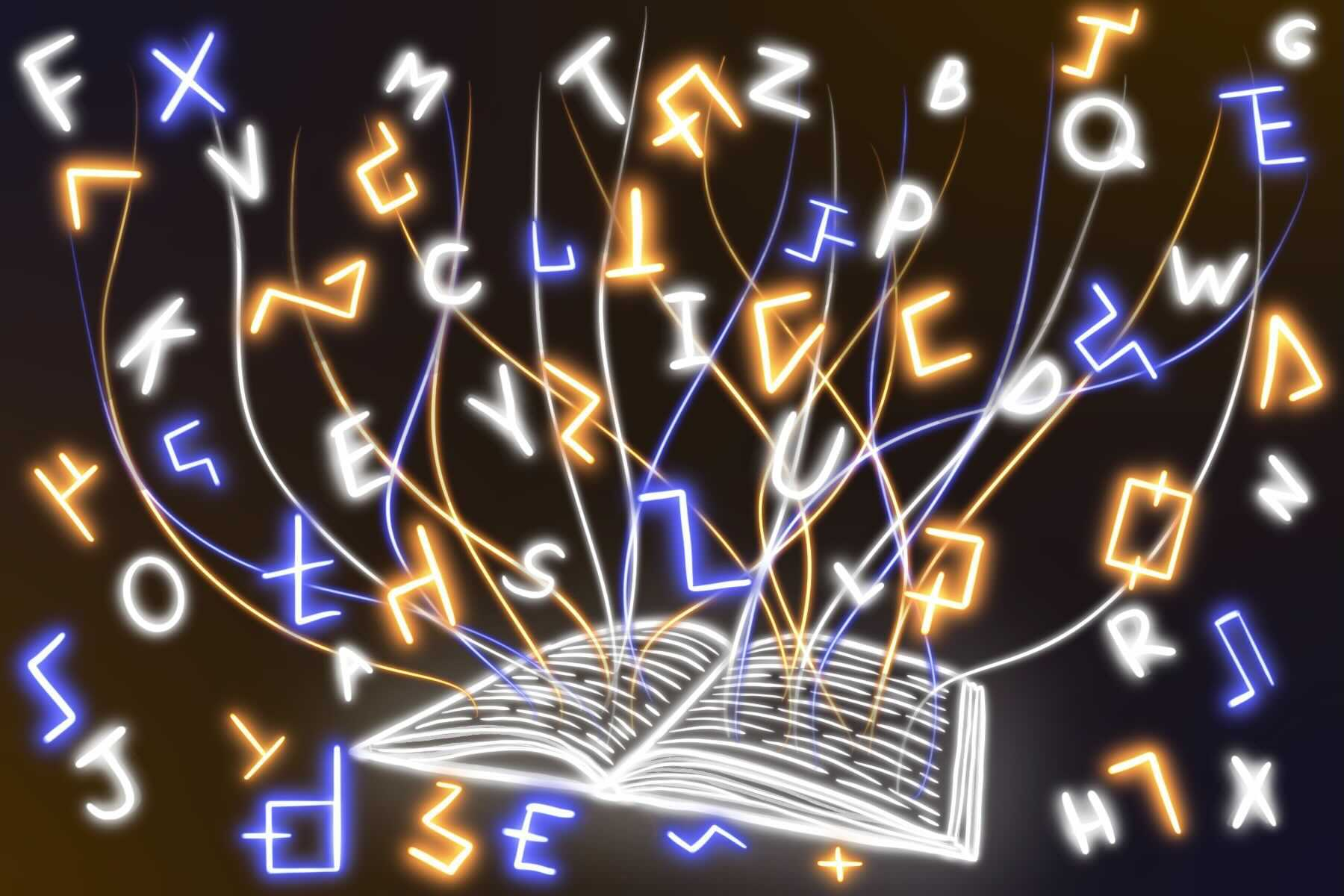 in an article about conlanging, an illustration of an open book with letters surrounding it on all sides