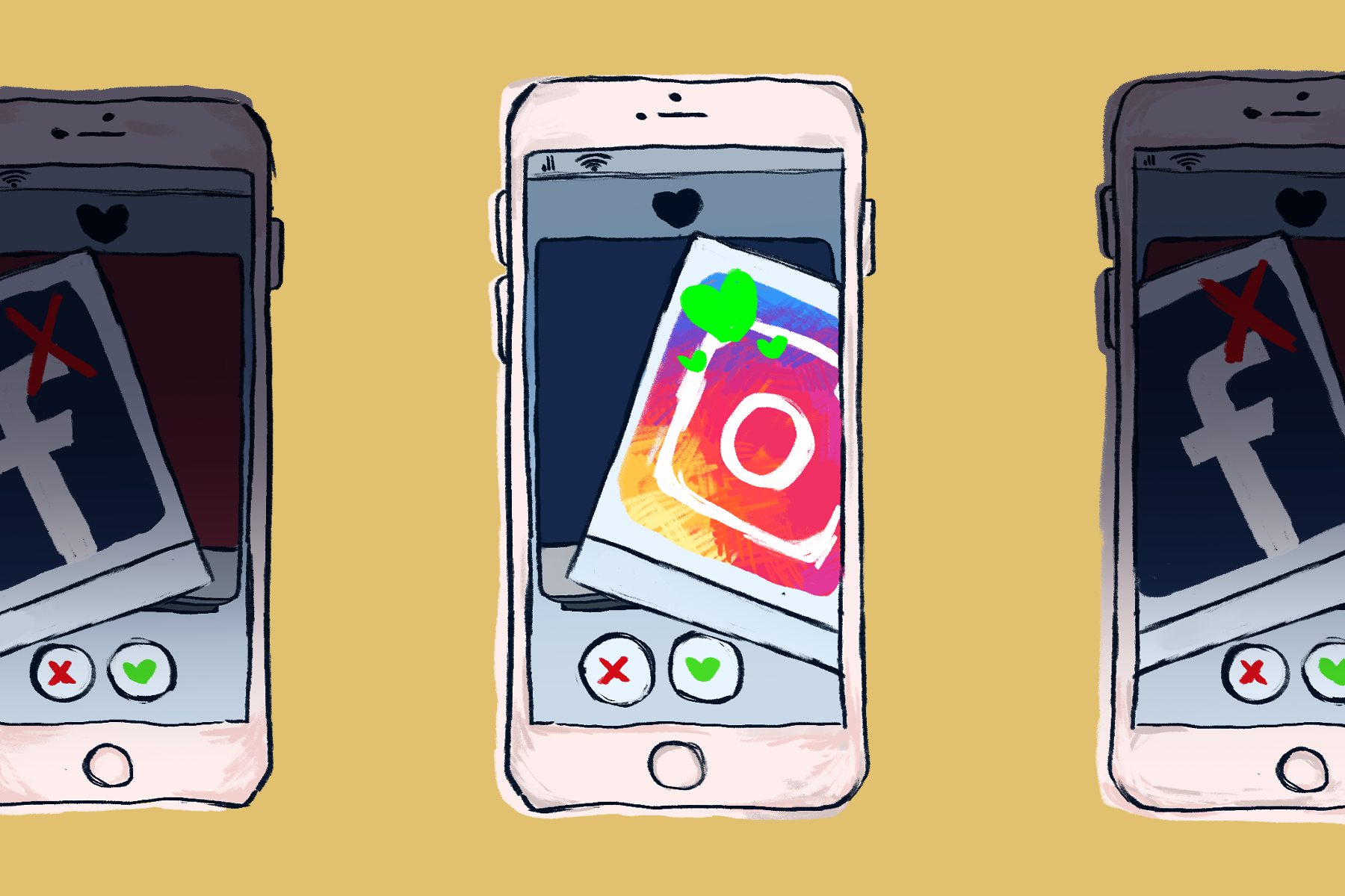 An illustration of the Instagram app in an article discussing Gen Zers use of social media. (Illustration by Lucas DeJesus, Montserrat College of Art)