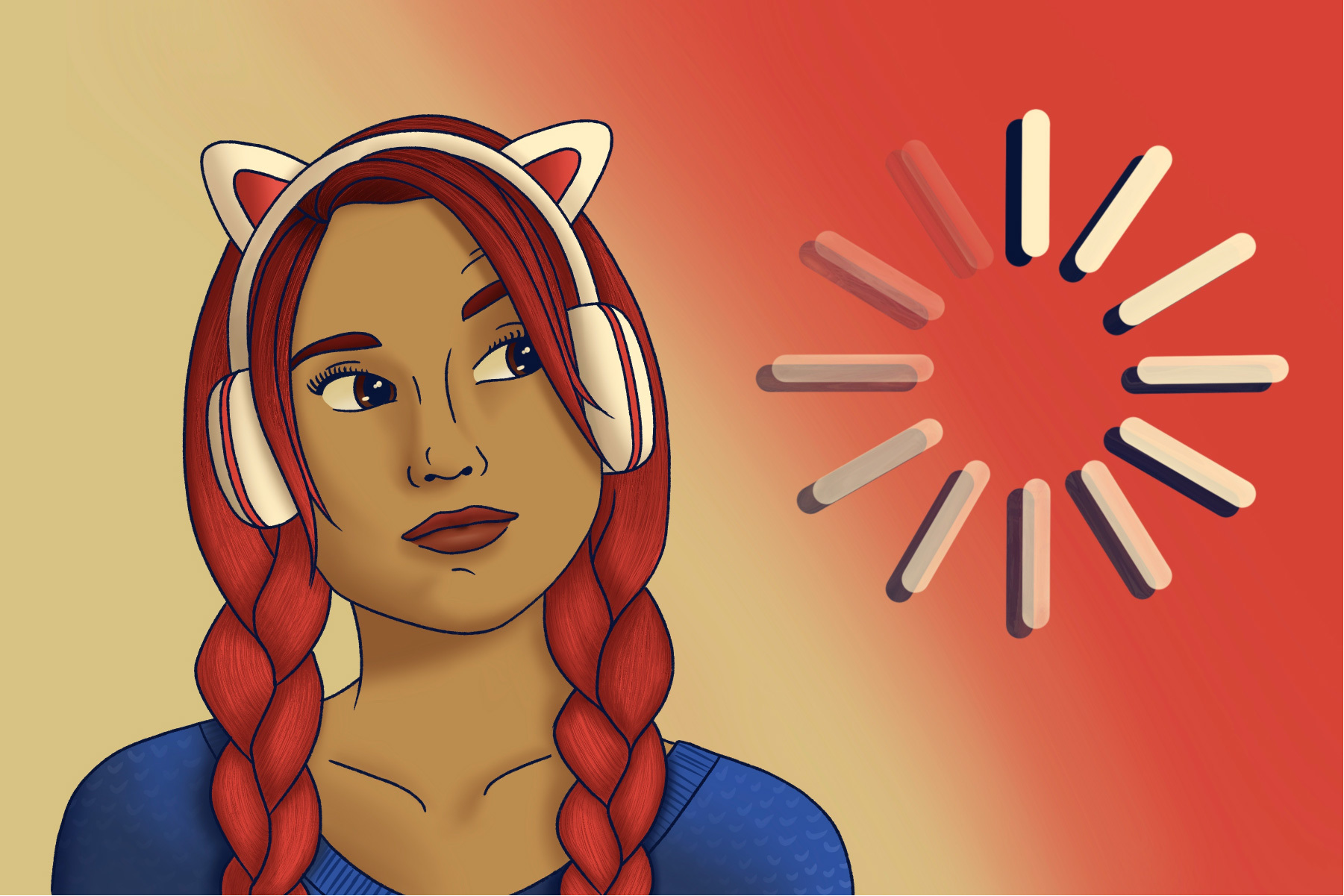 in an article about games similar to monster hunter rise, an illustration of a girl with headphones and cat ears looking at a loading symbol