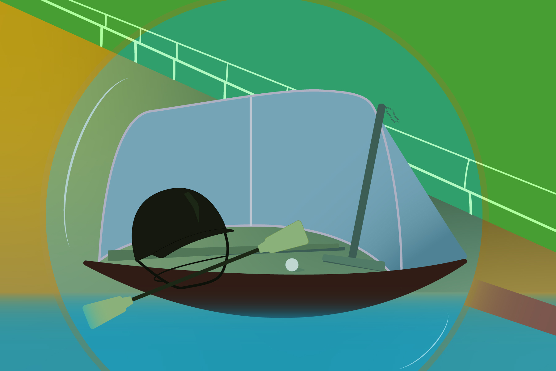 illustration of sporting equipment in a bubble for an article about overlooked sports