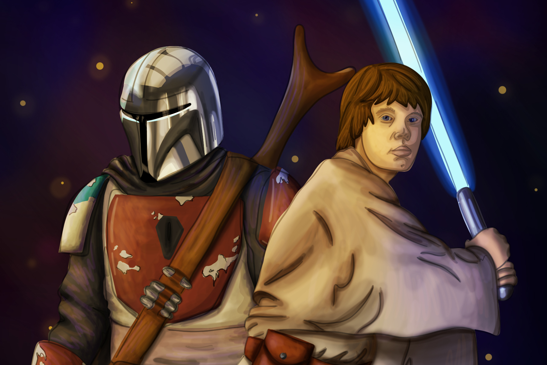 An illustration of a few main characters of Star Wars.