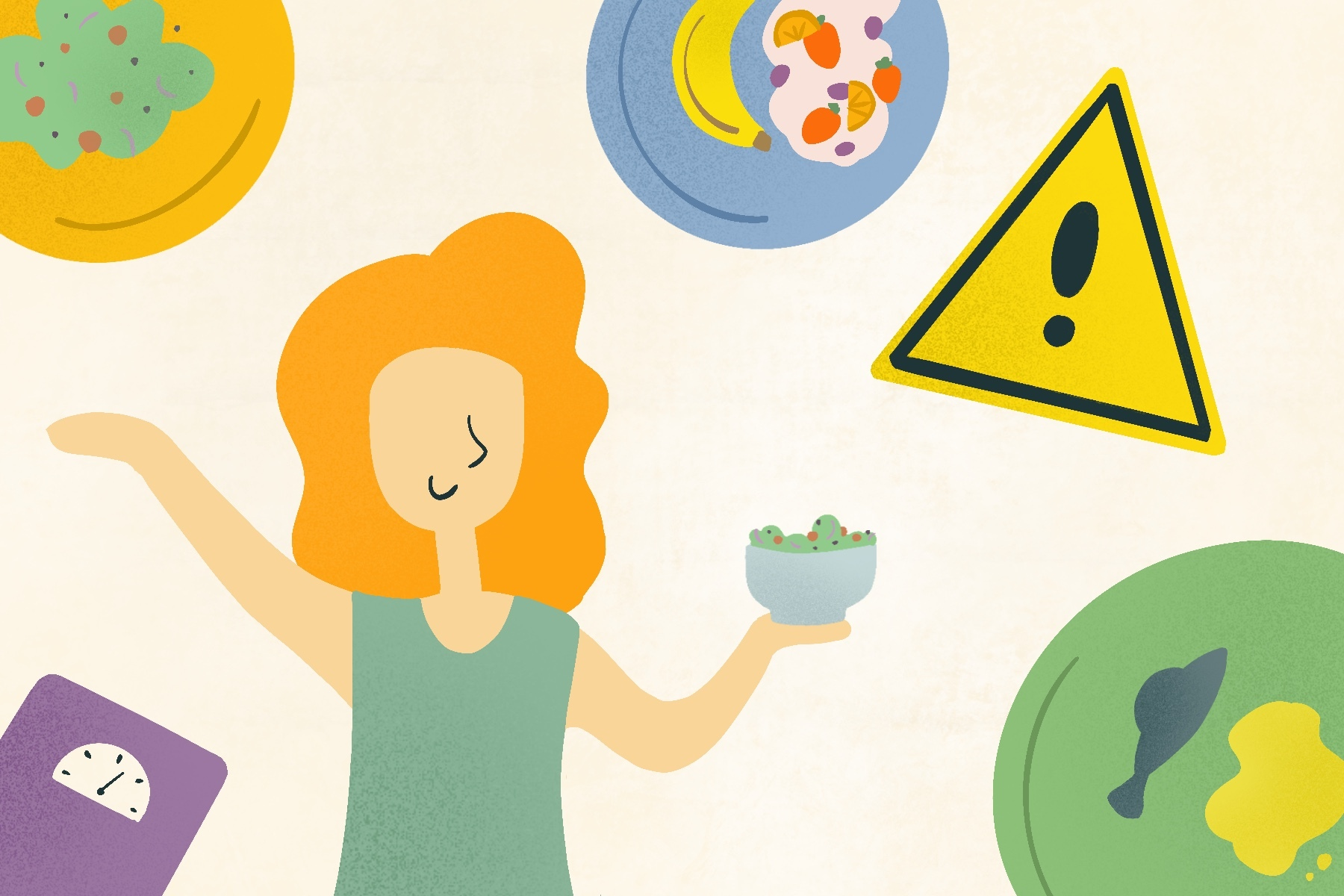 An illustration of food dangers for an article about the hazards of 'What I Eat in a Day' videos. (Illustration by Sonja Vasiljeva, San Jose State University)