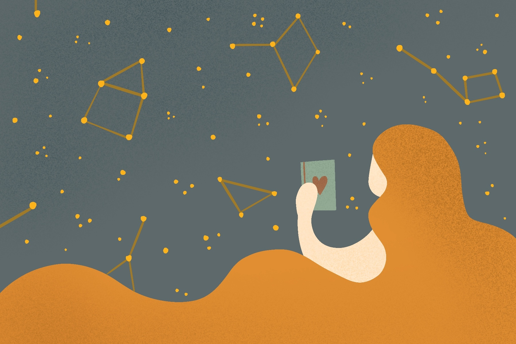An illustration for the novel Written in the Stars for an article about the book. (Illustration by Sonja Vasiljeva, San Jose State University)