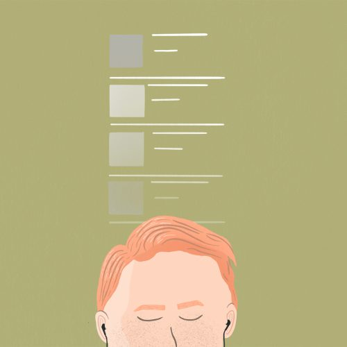 illustration of a person listening to a playlist
