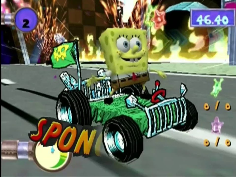 Screenshot from Creature from the Krusty Krab, of SpongeBob on the hood of a go-kart
