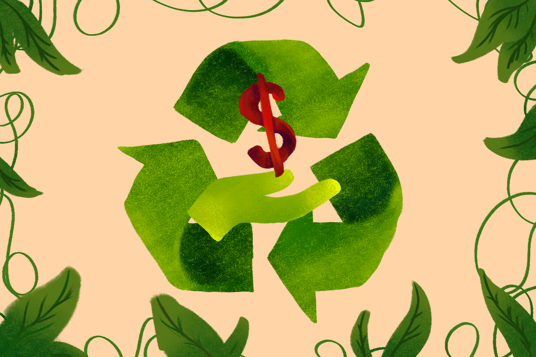 Illustration by Lucas DeJesus for an article on sustainability