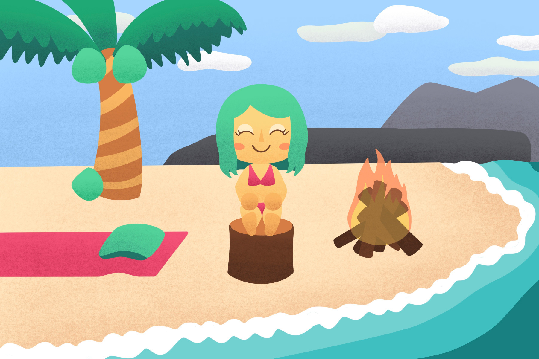 illustration of an animal crossing: new horizons character on an island with a palm tree and a campfire
