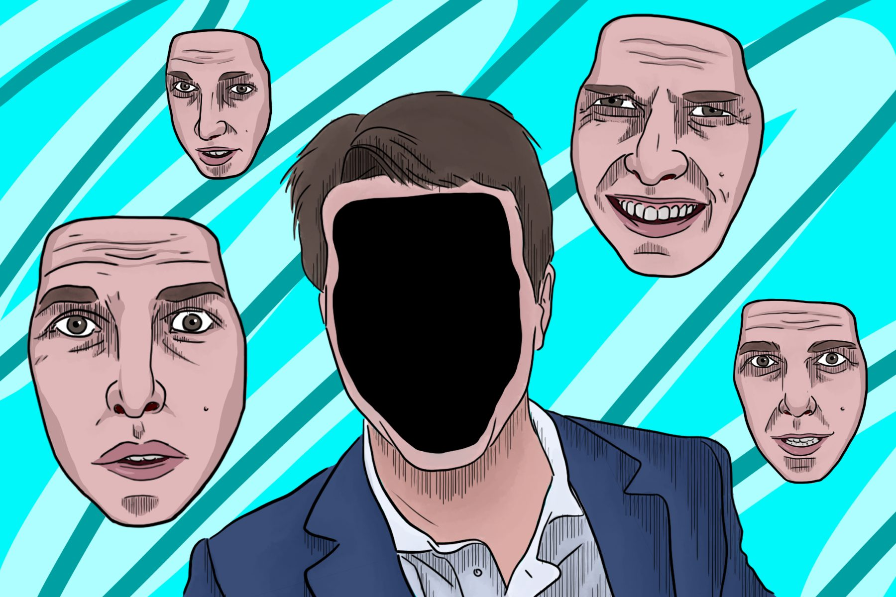 In an article about deepfakes, a person without a face surrounded by four faces of Tom Cruise