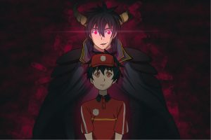 for an article about the devil is a part-timer! , anime-style illustration of satan behind a fast-food worker