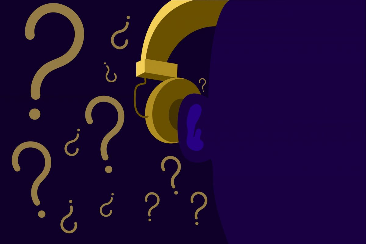 Illustration of earphones behind a silhouetted person with question marks in the background