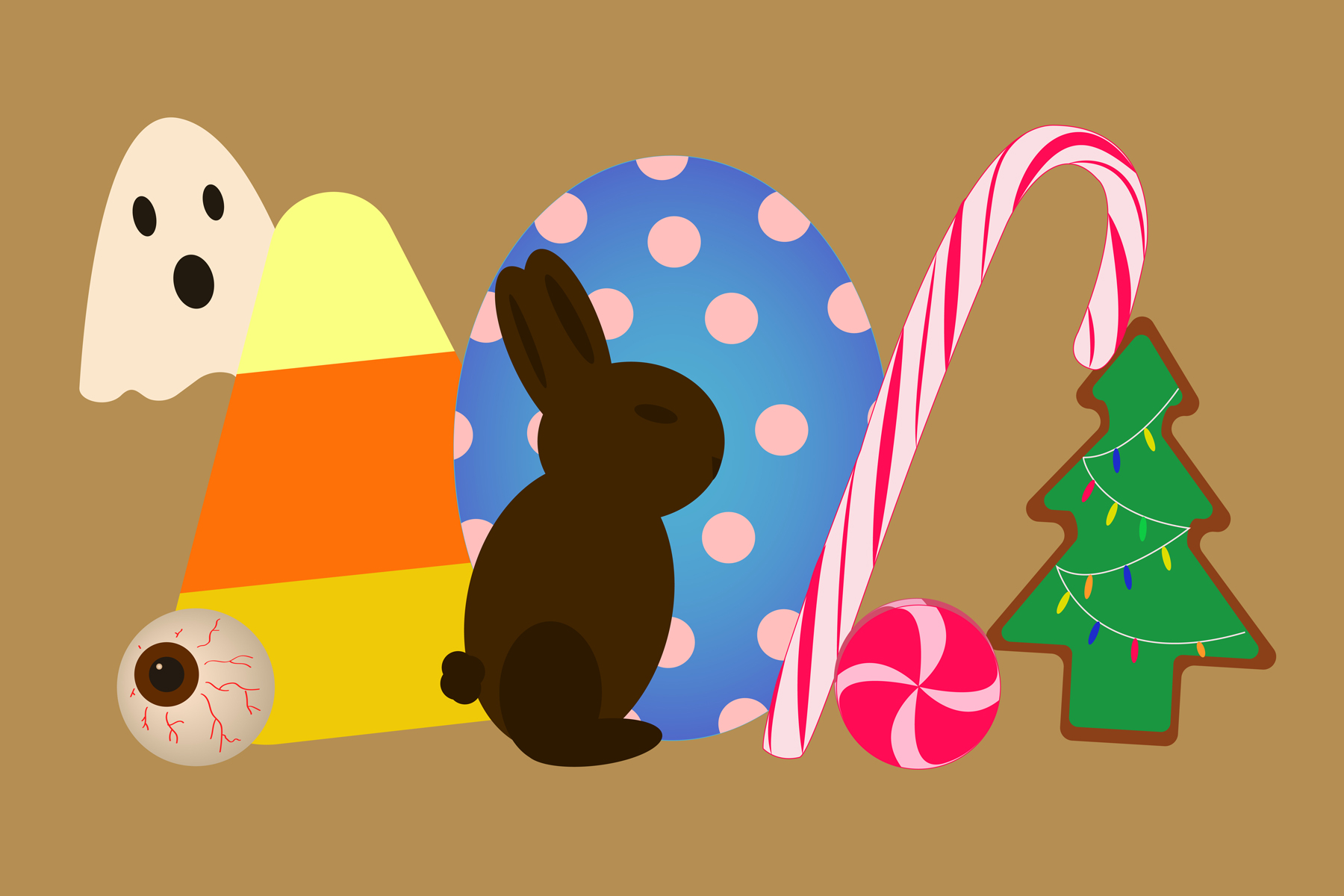 Illustration of halloween, easter and Christmas candy