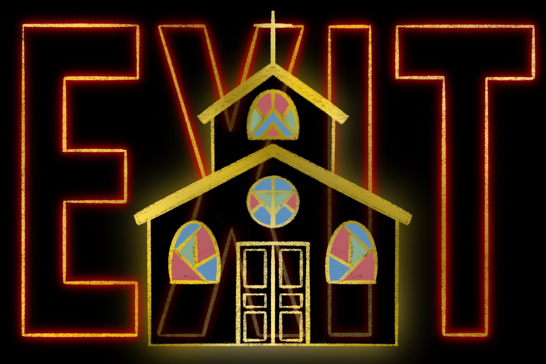 An illustration of the church with the word EXIT behind it.