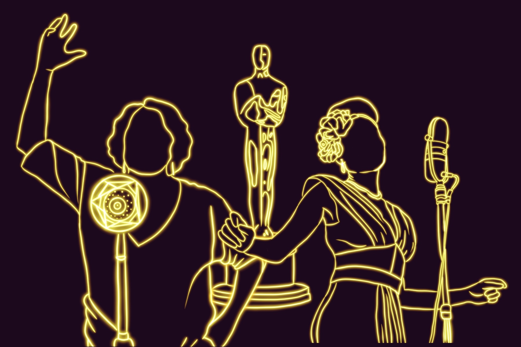 An illustration of people at the Oscars in front of an Oscar.