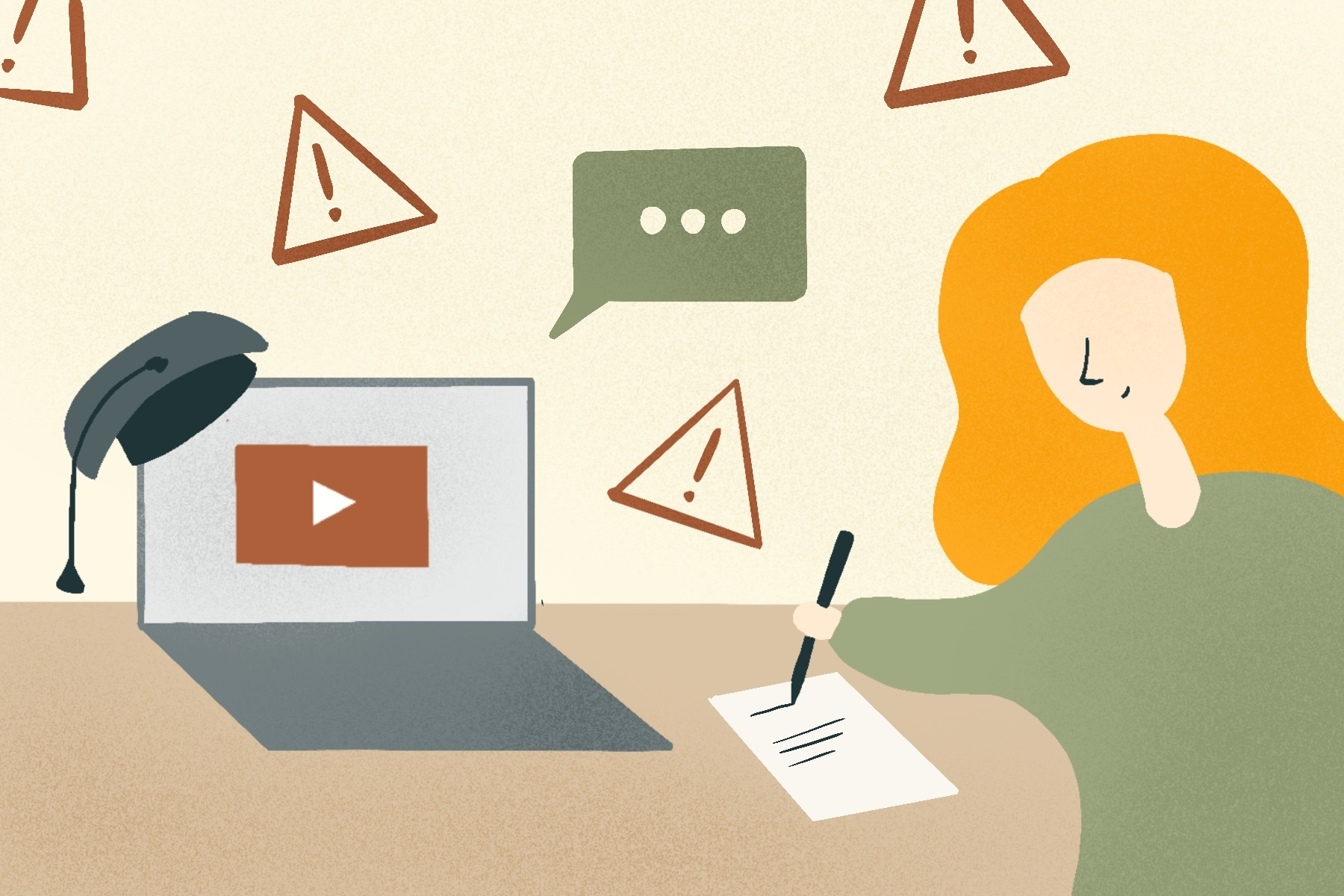 An illustration of a woman watching StudyTube videos for an article about how StudyTubers can be harmful. (Illustration by Sonja Vasiljeva, San Jose State University)