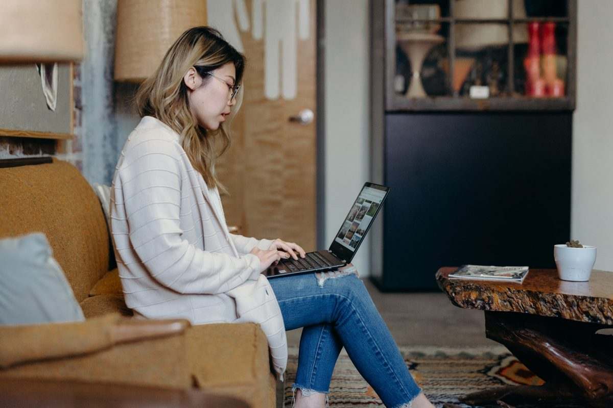woman sitting at a computer