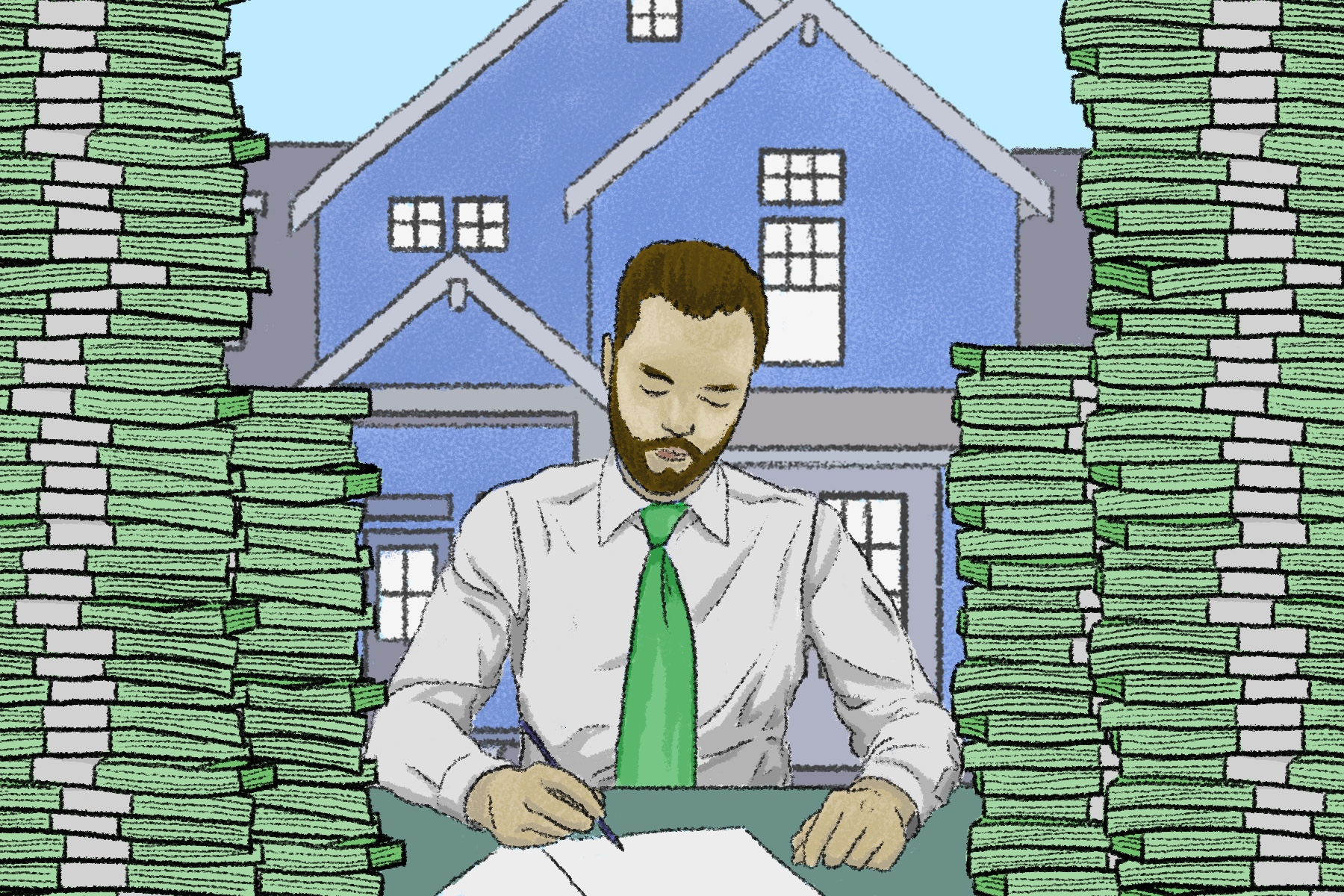 An illustration of a real estate agent surrounded by towers of money