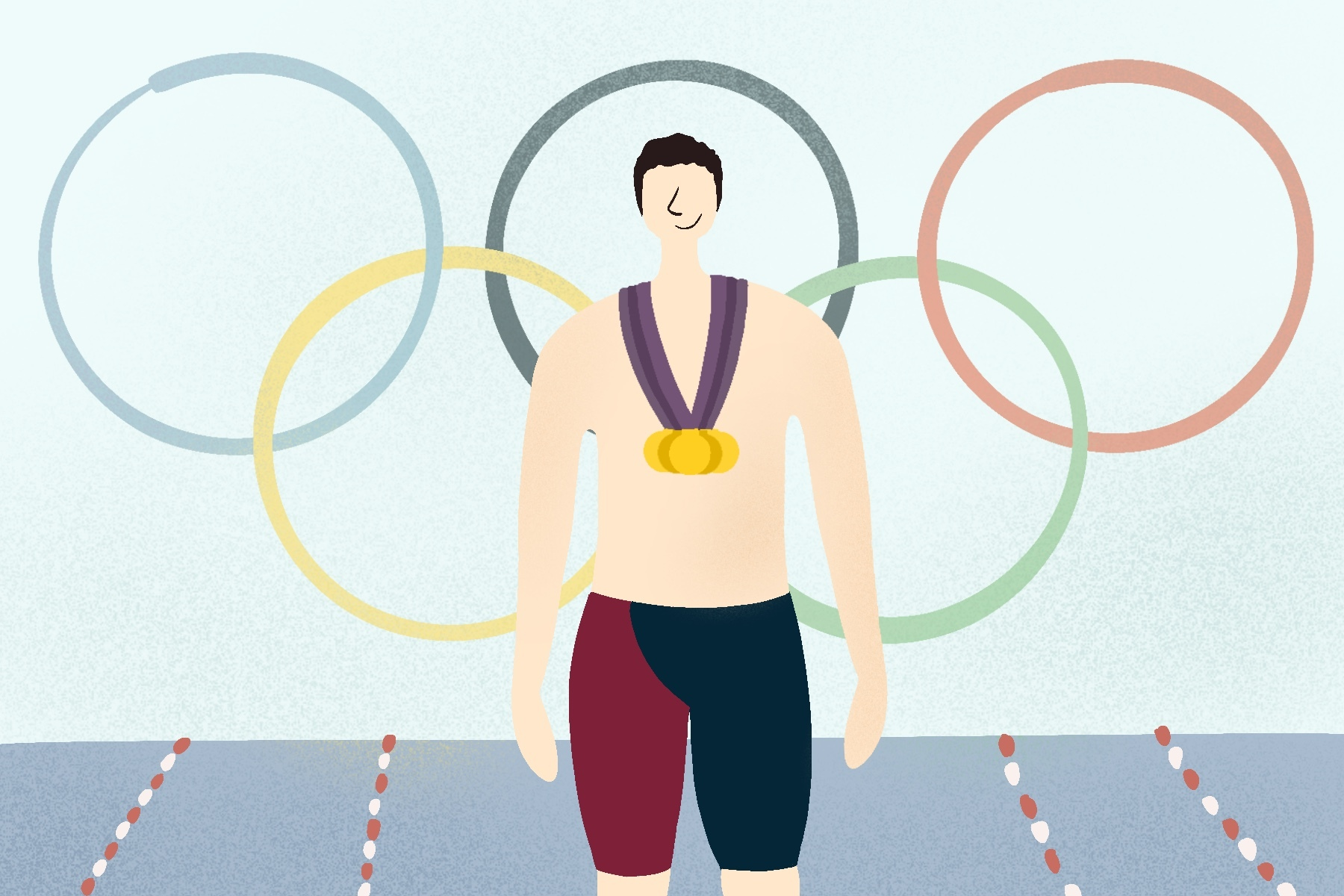 illustration of ryan lochte in front of the olympic rings