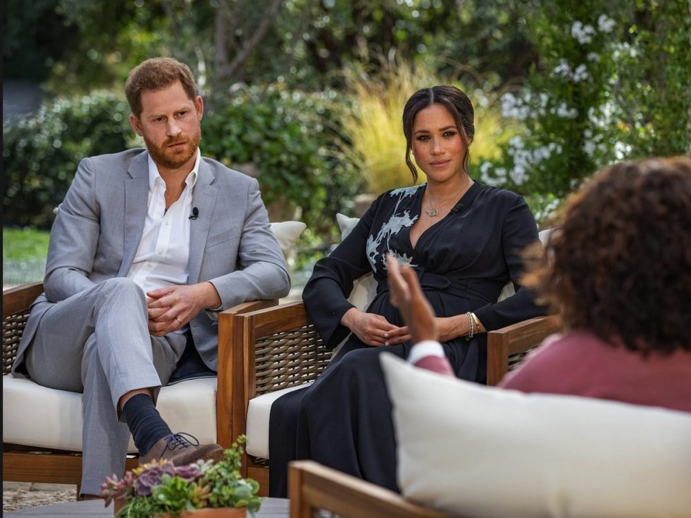 screenshot of Meghan Markle and Prince Harry from their Oprah interview