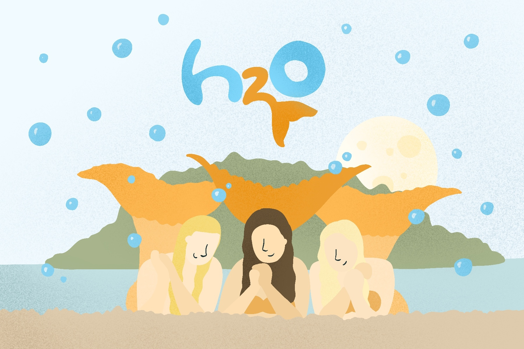 An illustration of the cover of the television show H2O: Just Add Water for an article about remembering this old series. (Illustration by Sonja Vasiljeva, San Jose State University)