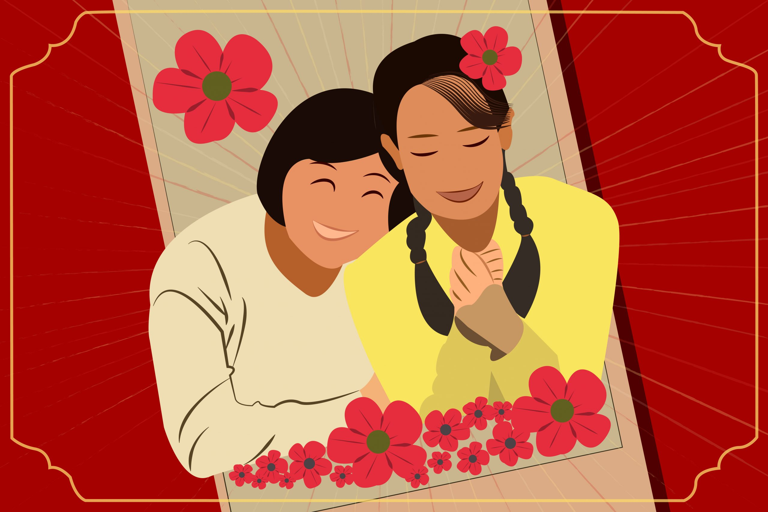 An illustration of the Chinese film Hi, Mom for an article about familial bonds. (Illustration by Julie Chow, University of California, Berkeley)