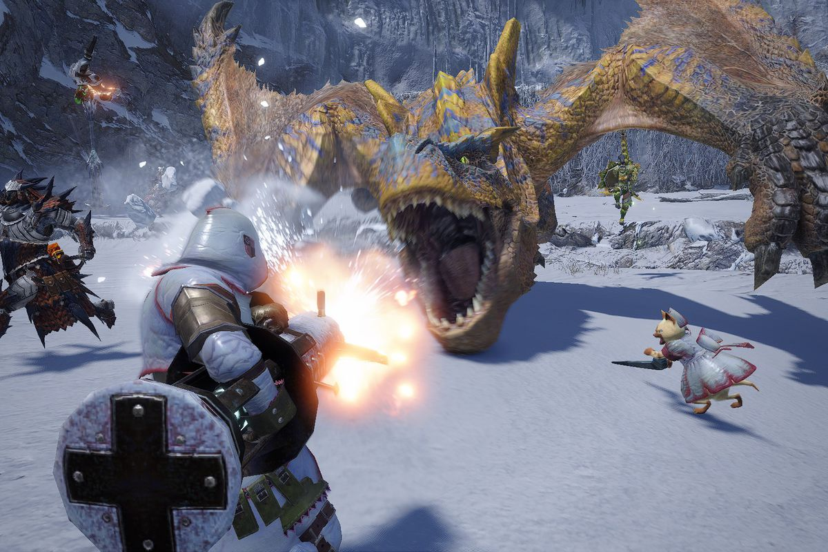 screenshot from monster hunter rise of an armored person battling a fire-breathing dragon