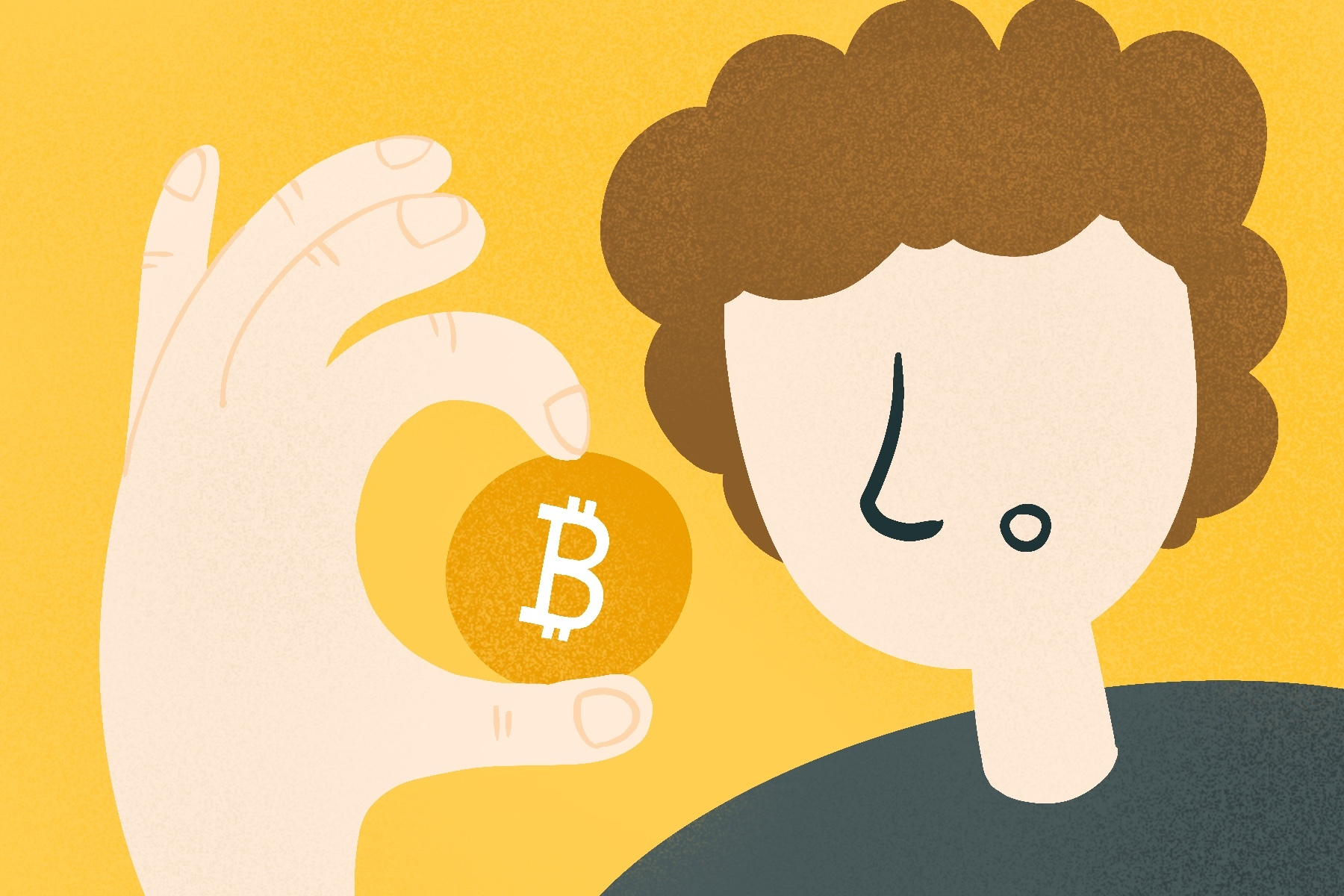 An illustration of a person holding a Bitcoin for an article about Bitcoin and NFTs. (Illustration by Sonja Vasiljeva, San Jose State University)
