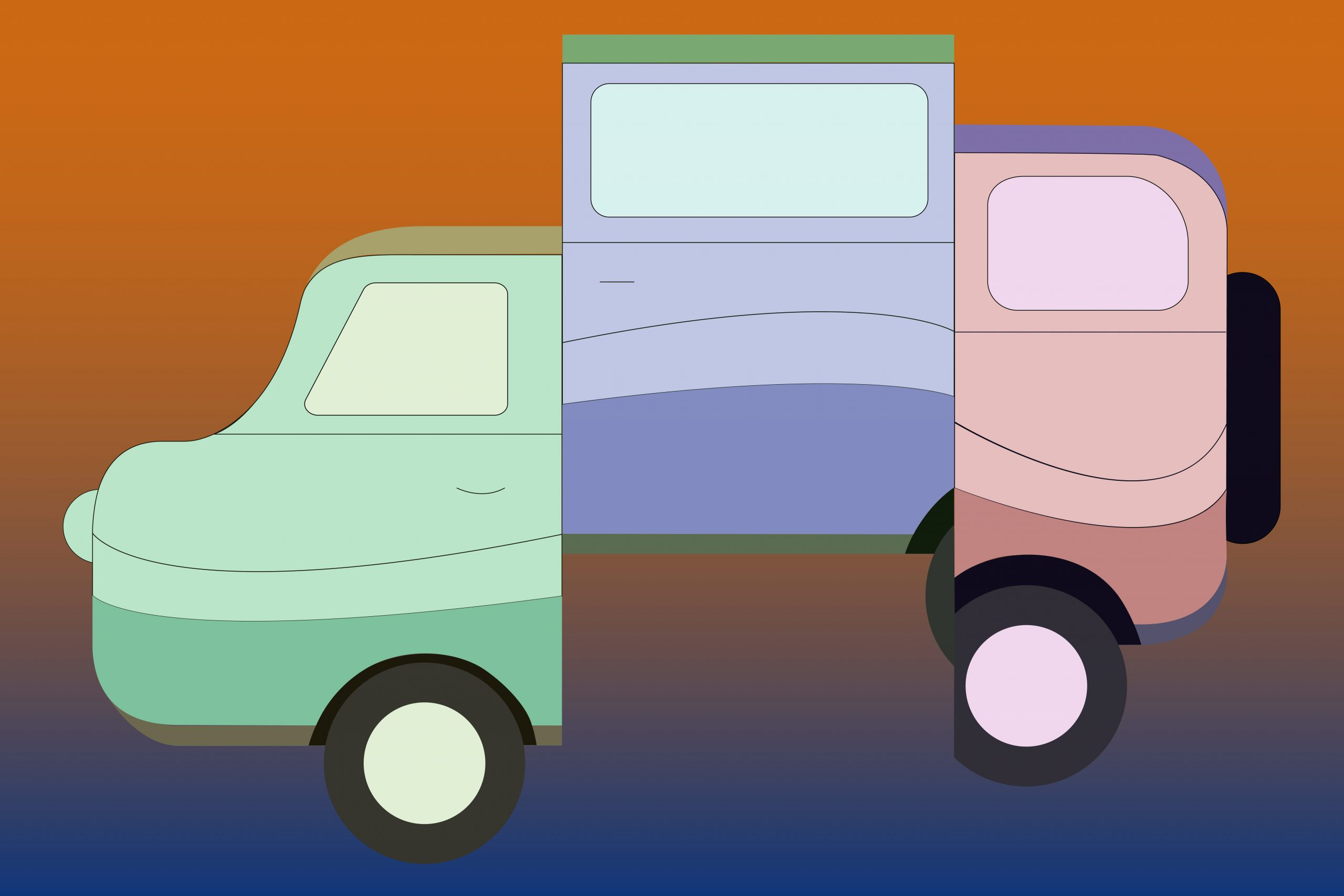 An illustration of a van for an article about the film Nomadland and nomadic living. (Illustration by Julie Chow, University of California, Berkeley)