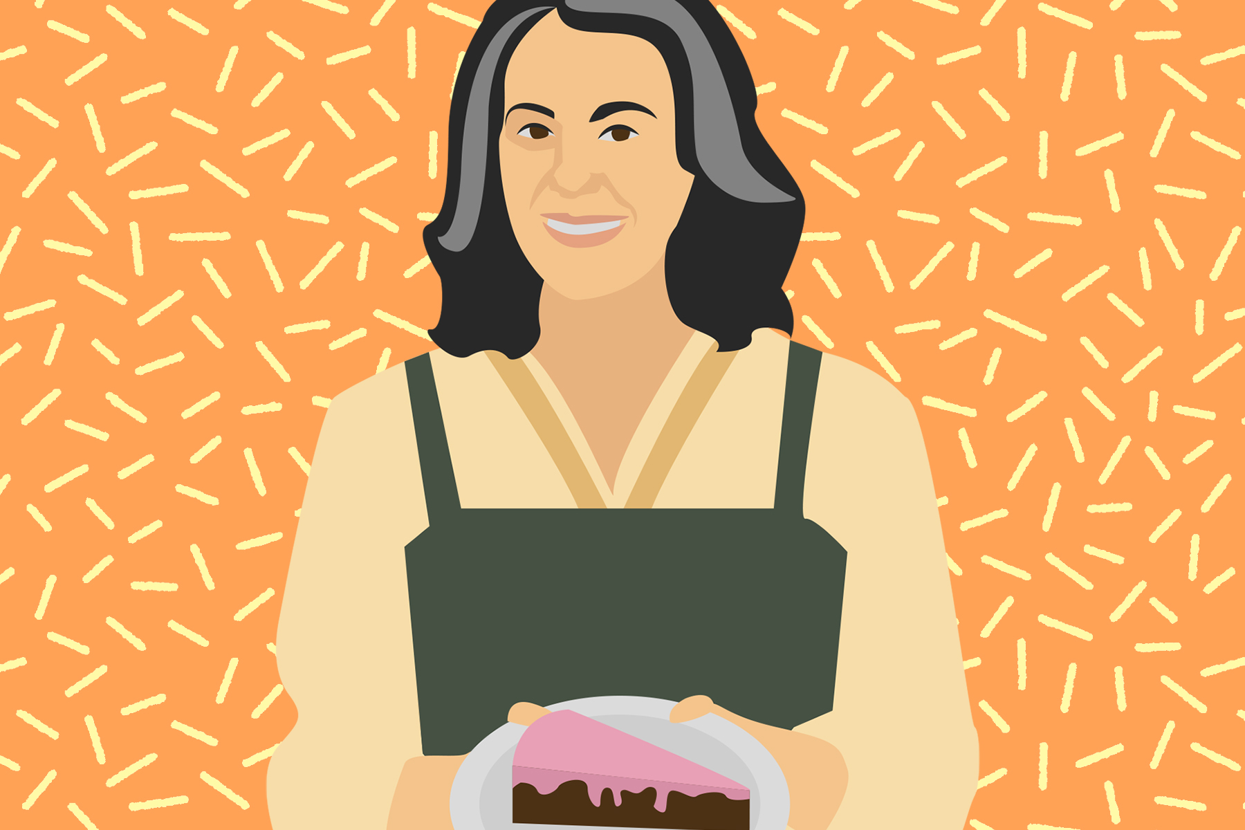 An illustration of Claire Saffitz, a baking personality on YouTube.