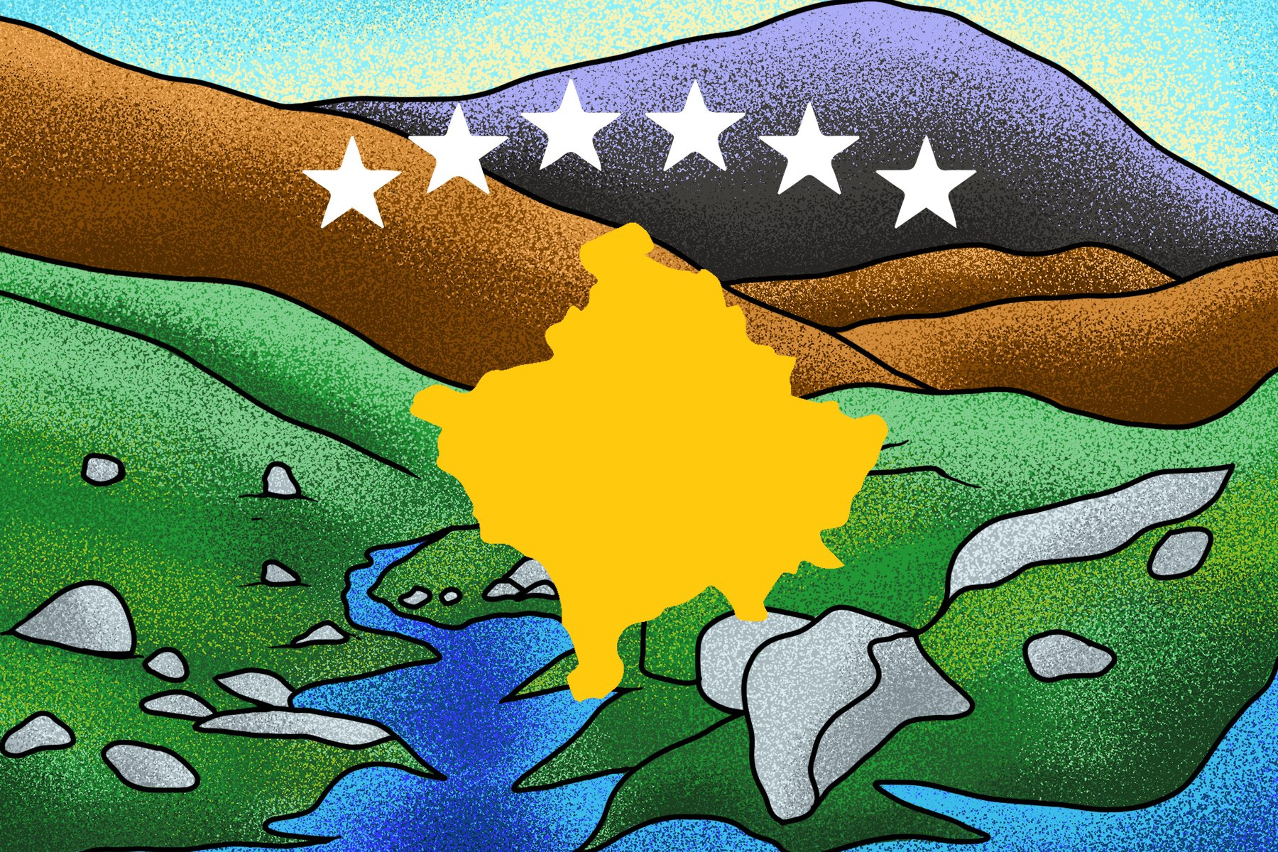 Illustration by Alicia Paauwe for an article on Kosovo