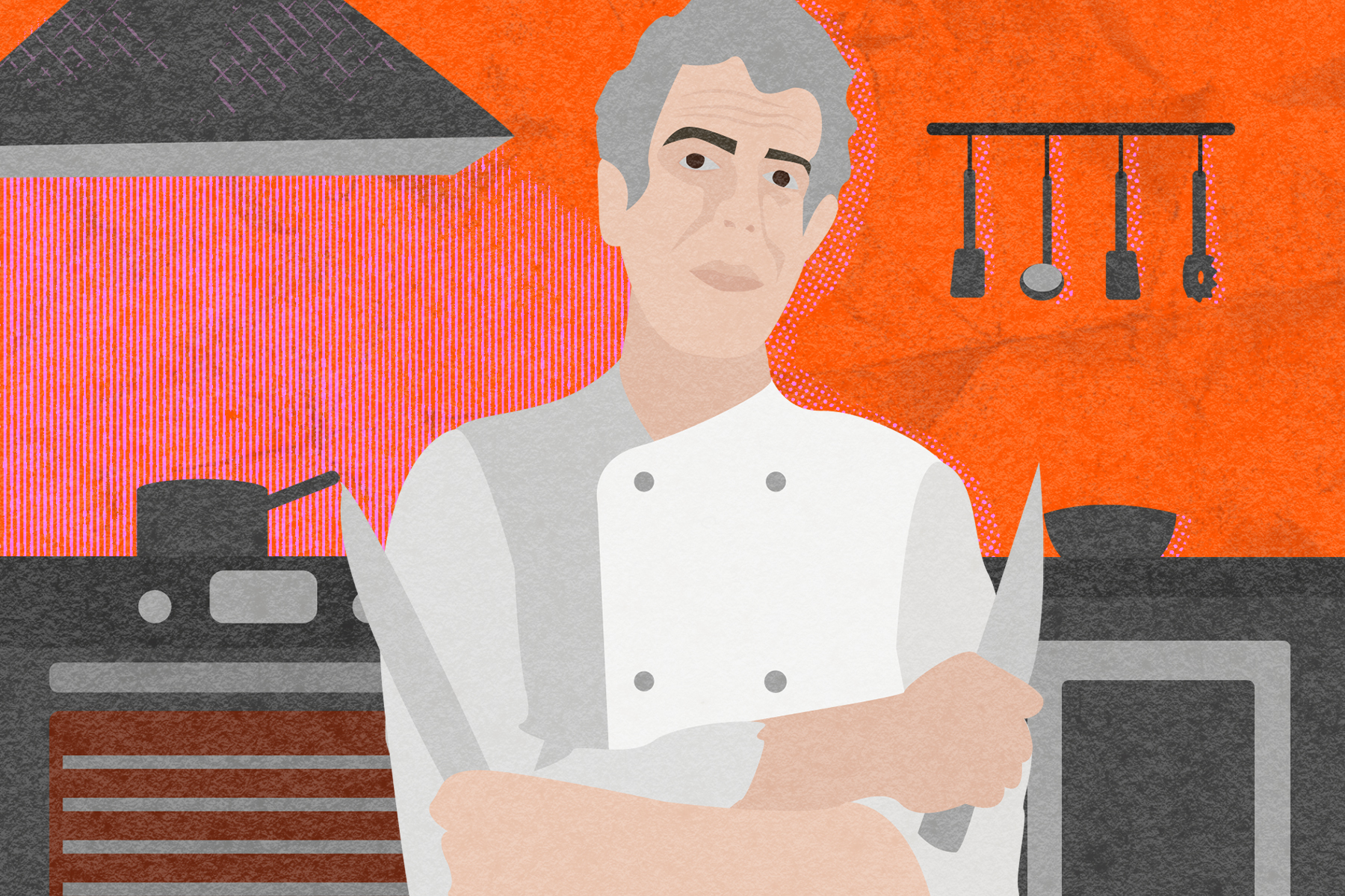 Illustration by Alicia Paauwe for an article on Anthony Bourdain