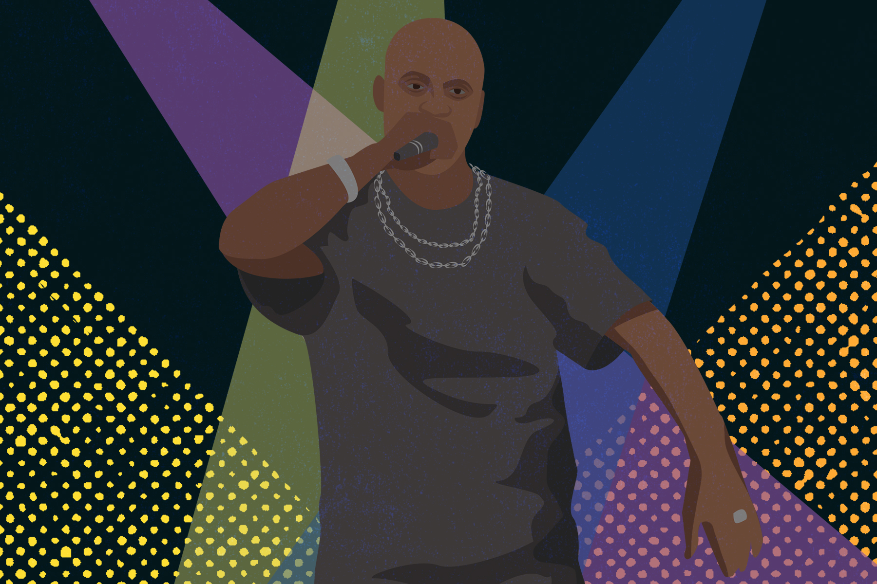 An illustration of the American rapper DMX.