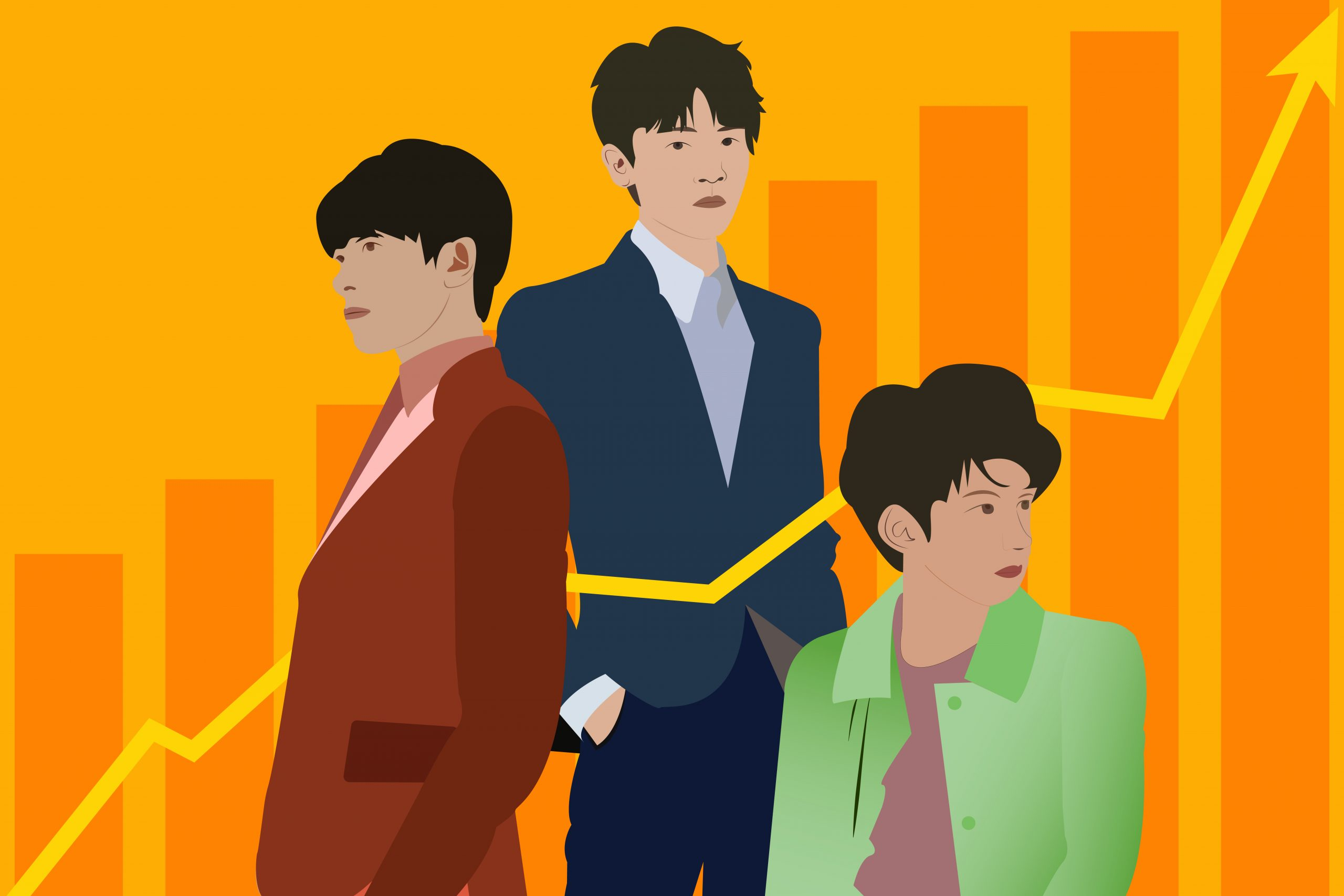An illustration of the three members of TFBoys for an article about their rising popularity and emotional impact. (Illustration by Julie Chow, University of California, Berkeley)