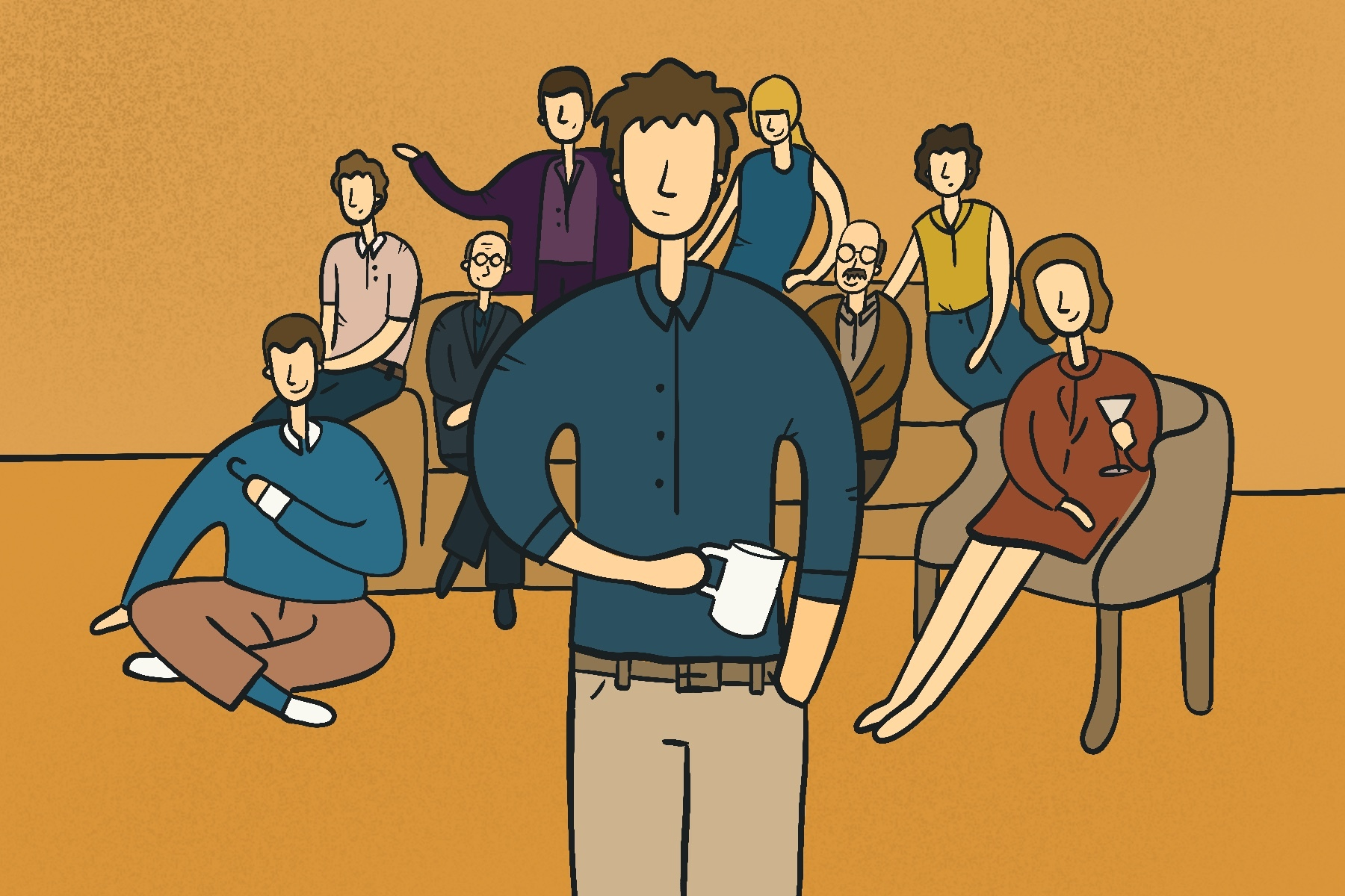 Illustration by Sonja Vasiljeva for an article on Arrested Development and The Office