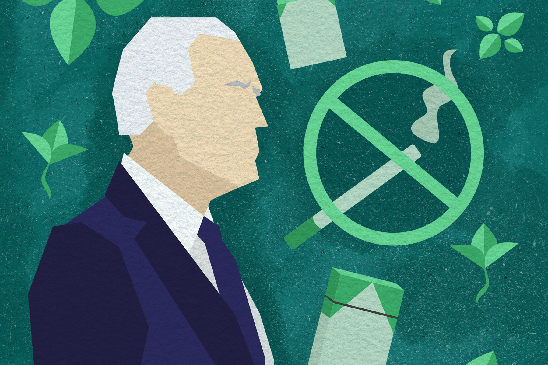 Illustration by Alicia Paauwe of symbols representing menthol cigarettes and a drawing of Joe Biden