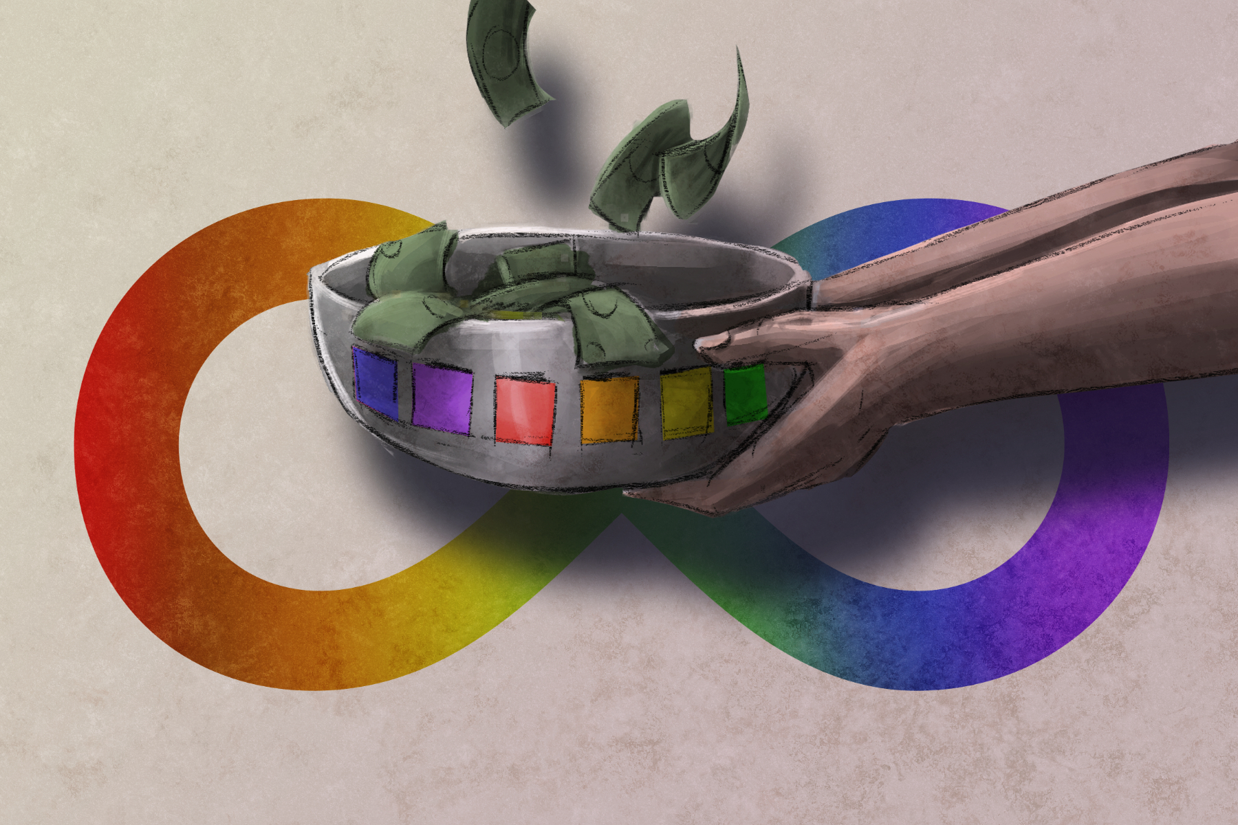 In an article about Mark Rober, an illustration of a person holding a bowl filled with money in front of a rainbow infinity sign.