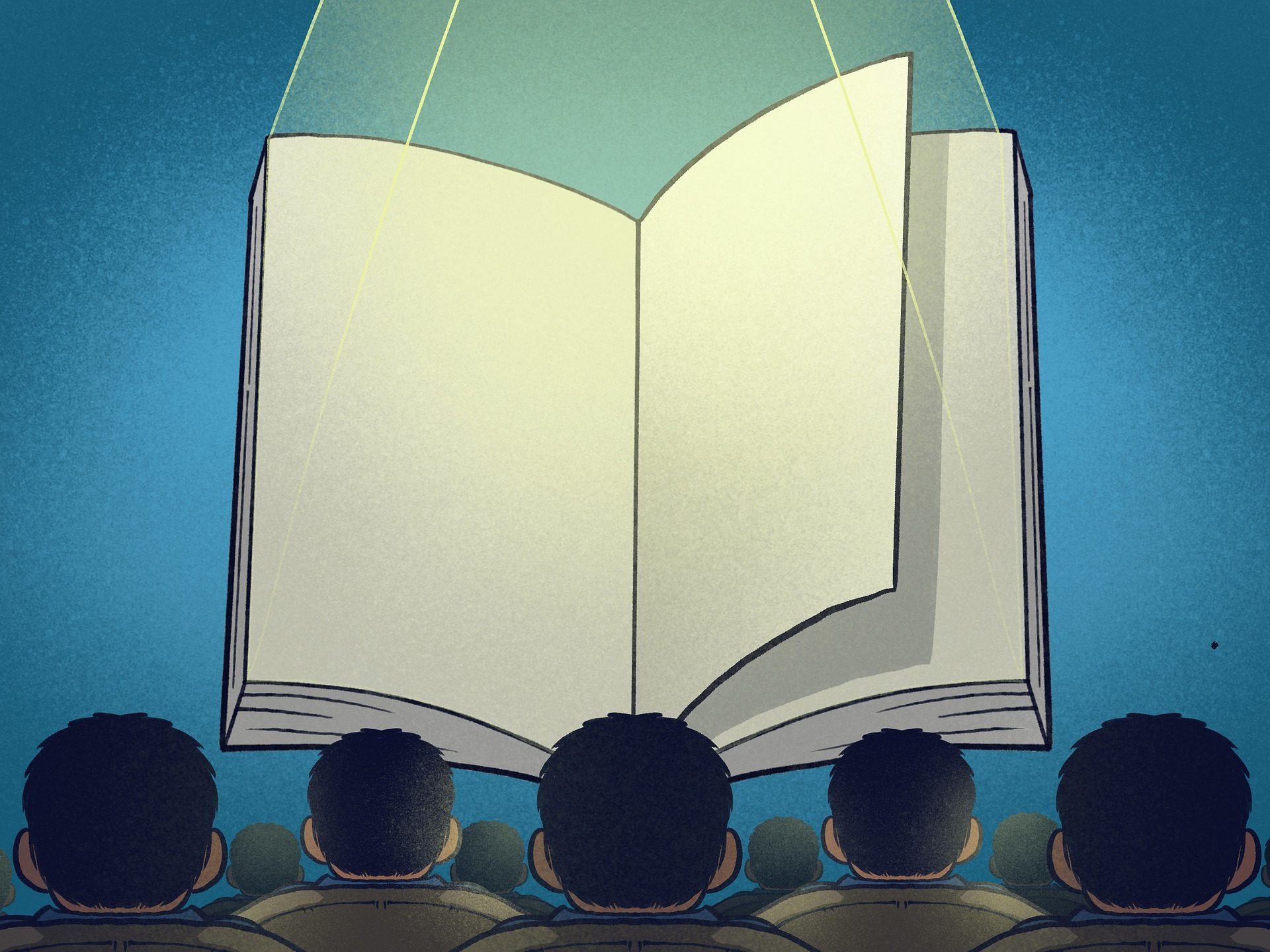Main character syndrome is illustrated by a spotlighted book with blank pages in the place of a movie theater screen, suspended in front of an audience.