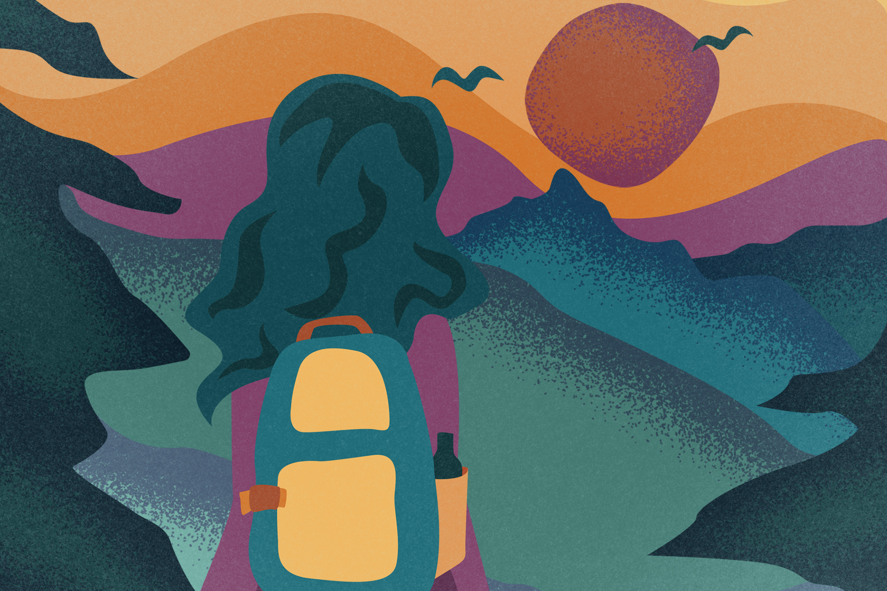 A person backpacking is illustrated in front of a beautiful and colorful mountain landscape.
