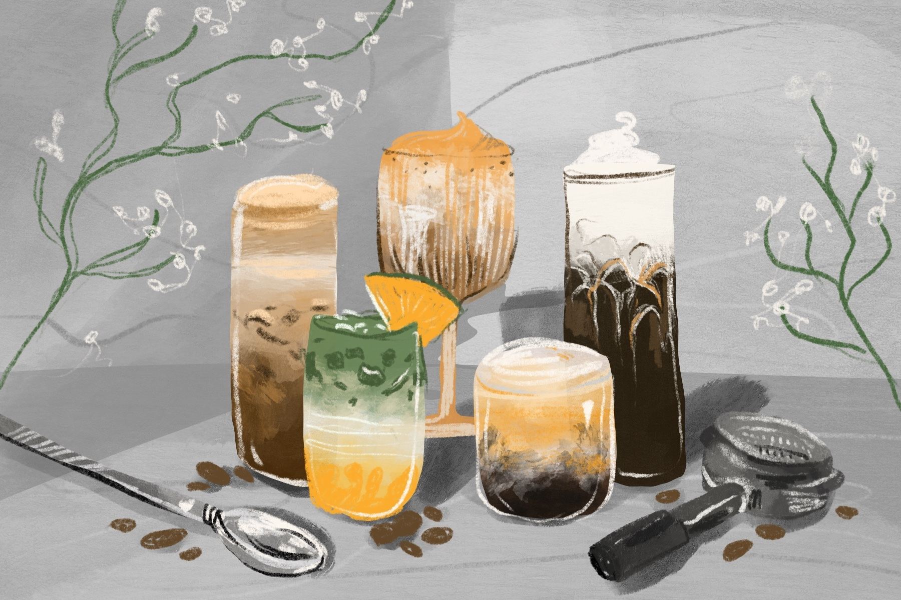In an article about Caffeinication, an illustration of an array of colorful and vibrant coffee drinks