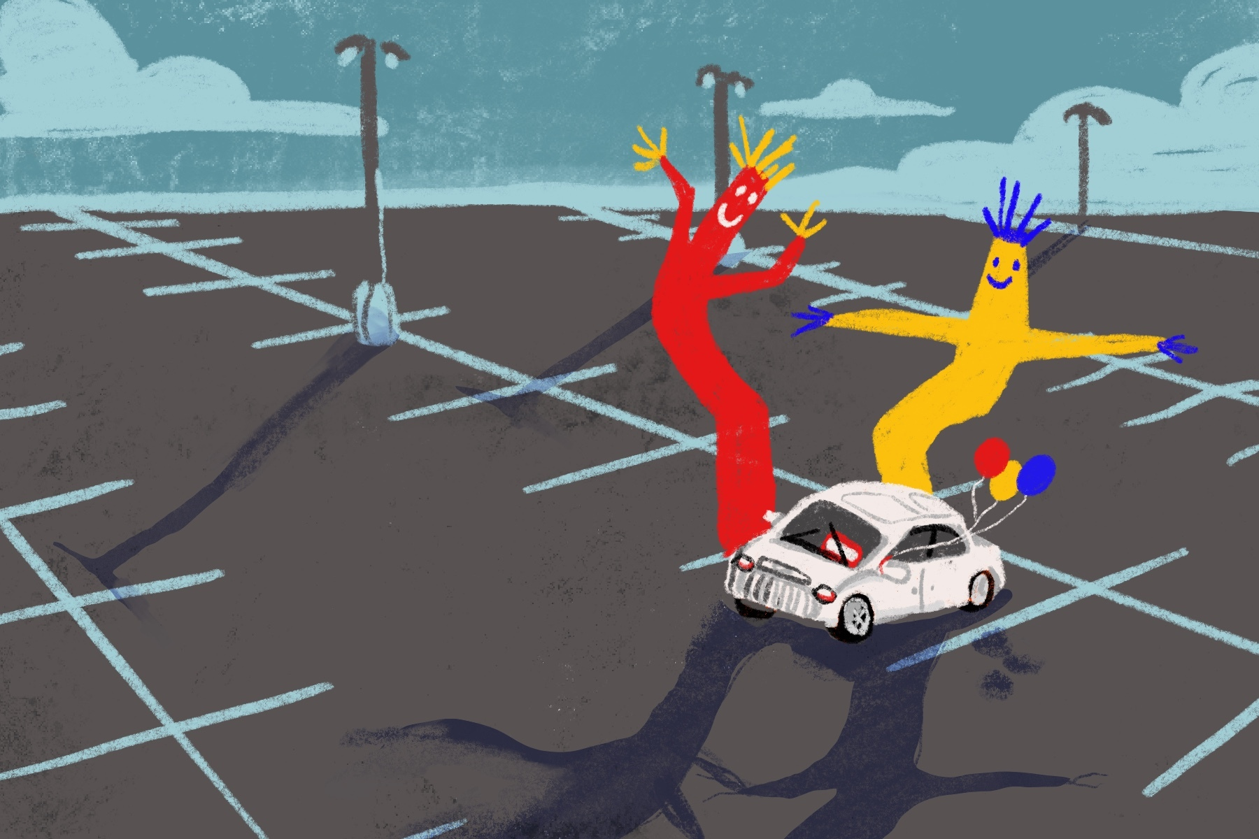 Illustration of car dealership with one car in lot next to inflatable person