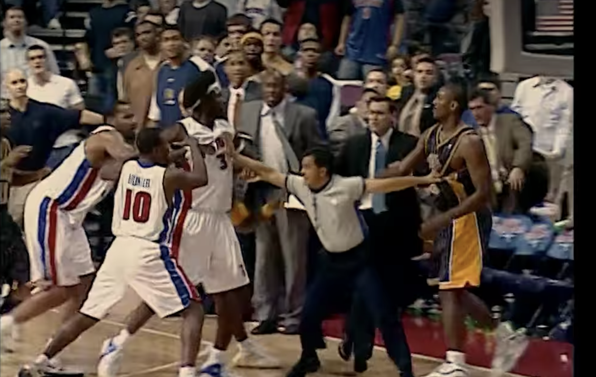 """In an article about """"Untold: Malice at the Palace,"""" a photo of the brawl."""