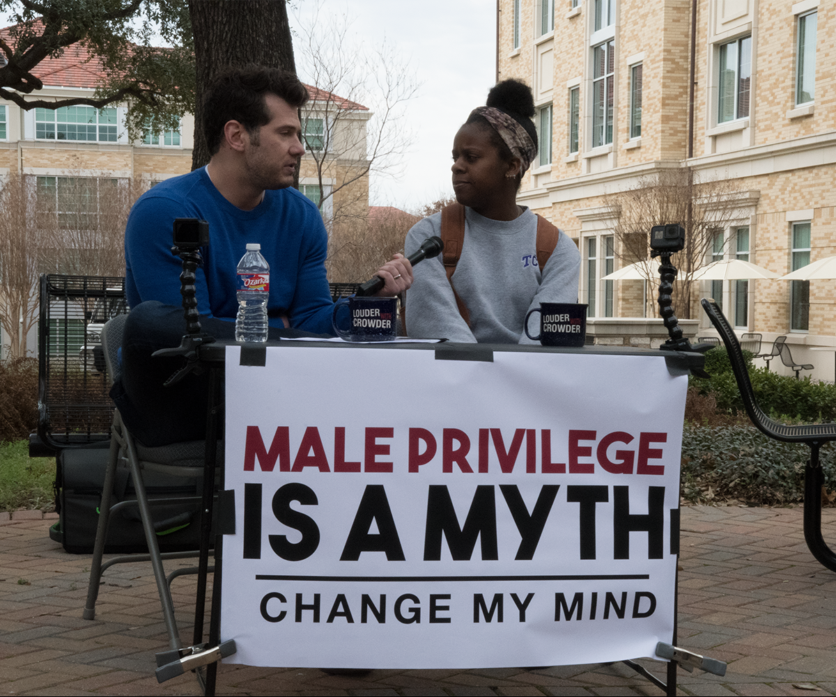 An image of Steven Crowder during one of his 'Change My Mind' segments
