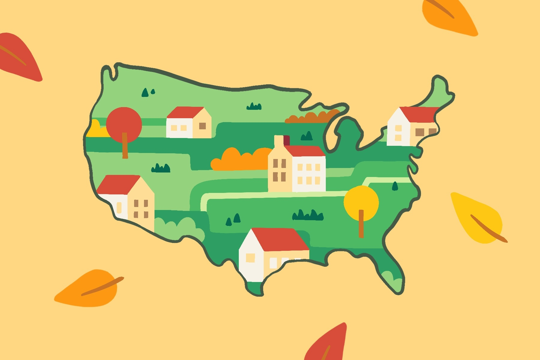 in article about small towns, a cutout of the continental United States with small rural houses in the center